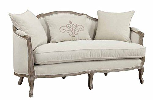 Emerald Home U3693-01-09 Salerno Settee with 2 Pillows and 1 Kidney Cream Pillow, Sand Gray Finish
