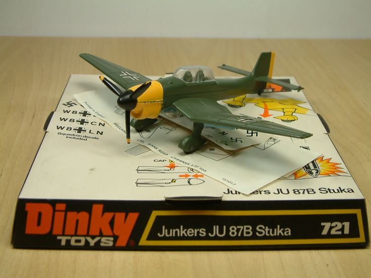 Dinky Toy 721, Junkers JU87B Stuka. Part of a World War II aircraft range inspired by the Battle Of Britain film of 1969, this German Dive Bomber featured a working 'Cap' firing bomb, with a release button built into the plane itself. This diecast model was produced between 1969 and 1980.