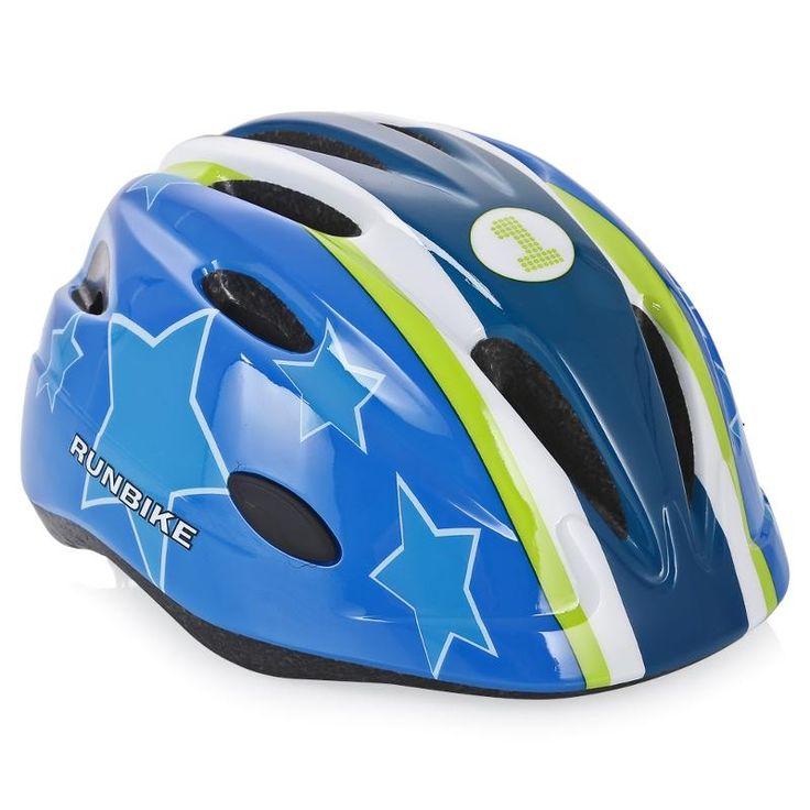 Шлем детский Runbike, M (52-56 см), сине-зеленый