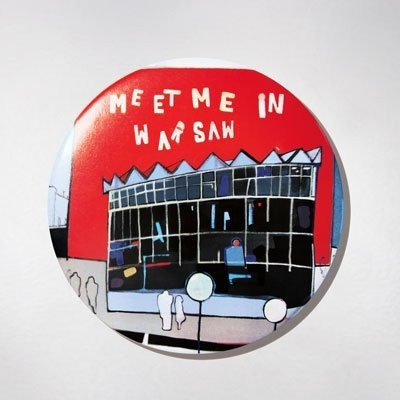 Badge - Meet Me - Souvenir from Warsaw. Fits perfectly to clothes or handbags. $9 zł.