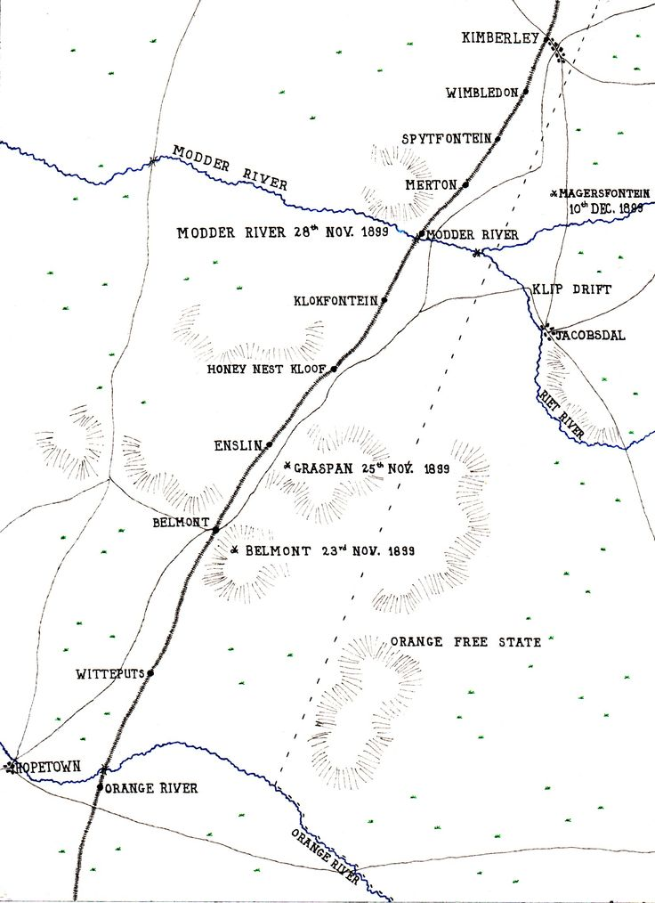 Map showing the area of Lord Methuen's operations from the Orange River to the Battle of Magersfontein on 10th December 1899: map by John Fawkes