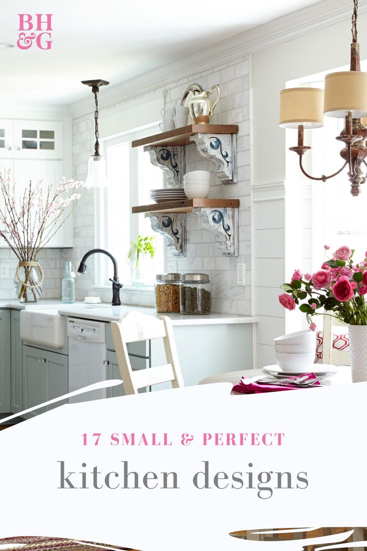 Make your small kitchen appear much larger with these tips and tricks! These easy and cheap ideas include having a white kitchen, having glass front cabinet doors and adding hidden corner storage. #kitchendesign #homedecor #kitchenhacks