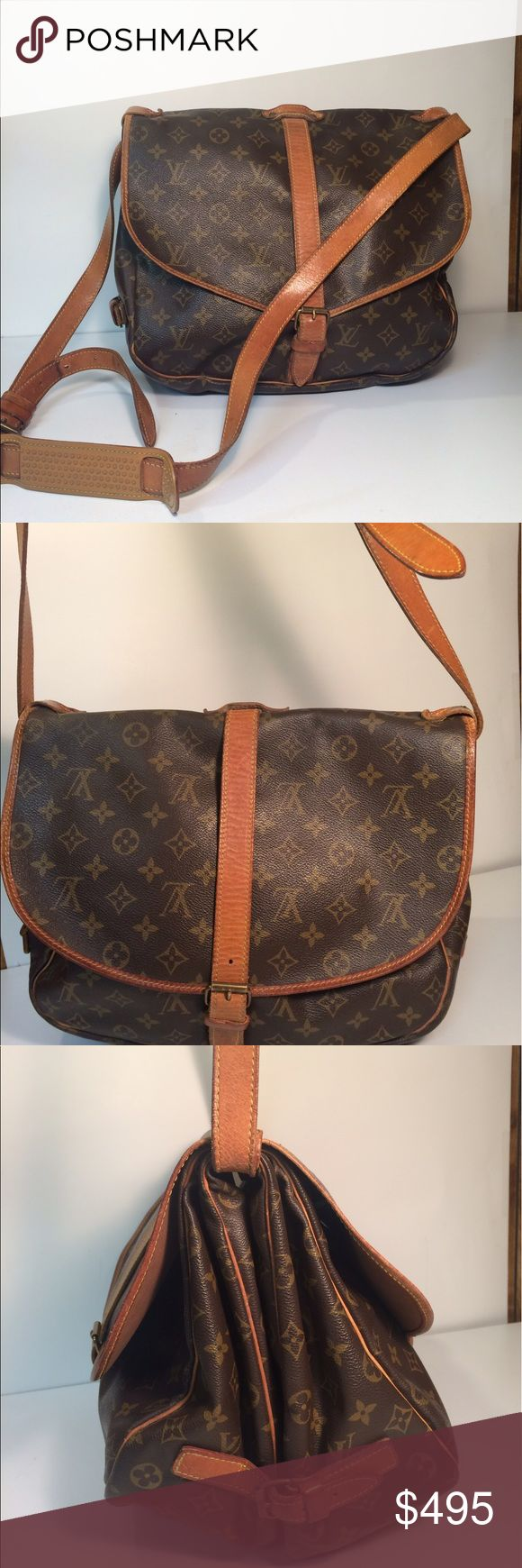 """Louis Vuitton Saumur 35 Cross Body Messenger Bag Louis Vuitton Saumur 35 Cross Body Messenger Bag ... Date code: AR0921 ... Length: 14"""" ... Height: 10.5"""" ... Width: 7"""" .... Shoulder drop: 25"""" ... Features: Adjustable shoulder strap ... 2 Way flap with belted buckle closure ... 2 Way Belted side buckle closure ... 3 Compartments ... 2 Interior slip pockets ... Condition: Normal sign of use ... Exterior leather / Hardware wear .... Leather patina ... Guaranteed Authentic. Louis Vuitton Bags…"""