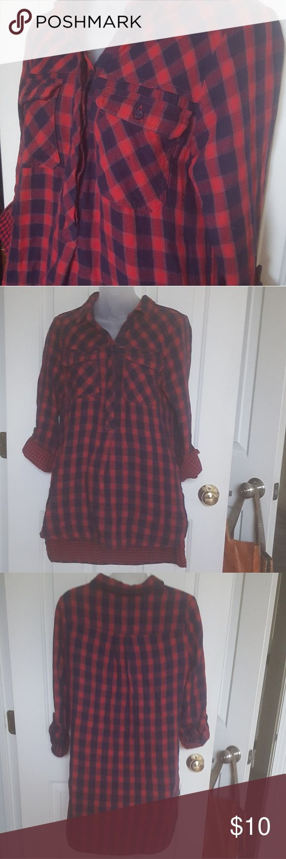 red/black ladies flannel shirt Cute, cozy & comfy! Perfect for chilly wintry days. Canyon River Blues Tops Blouses