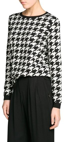 $79, Black and White Houndstooth Crew-neck Sweater: Mango Outlet Houndstooth Wool Blend Sweater. Sold by Mango. Click for more info: https://lookastic.com/women/shop_items/12811/redirect
