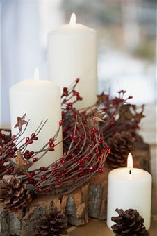 Mountain Wedding: wood sticks, pine cones, and candles!