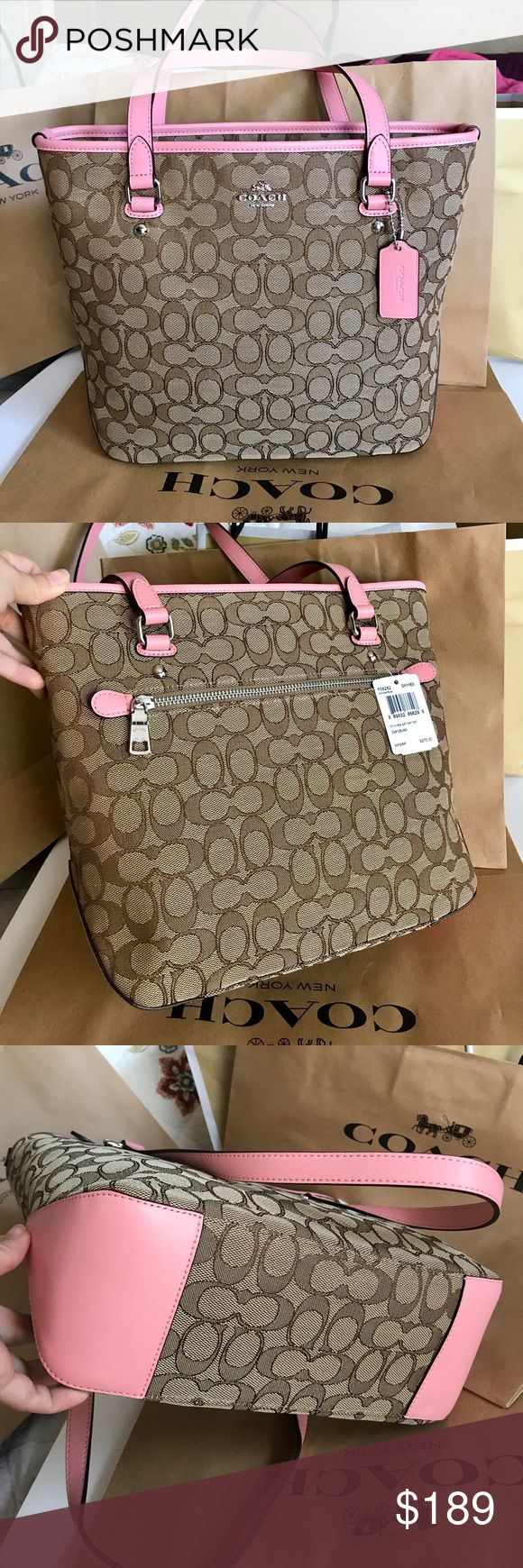 🍀Coach Bag🍀 100% Authentic Coach Tote Bag, brand new with tag!.😍😍😍color Blush/Brown. Coach Bags Totes