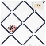 Hotel White and Navy Fabric Memory Board
