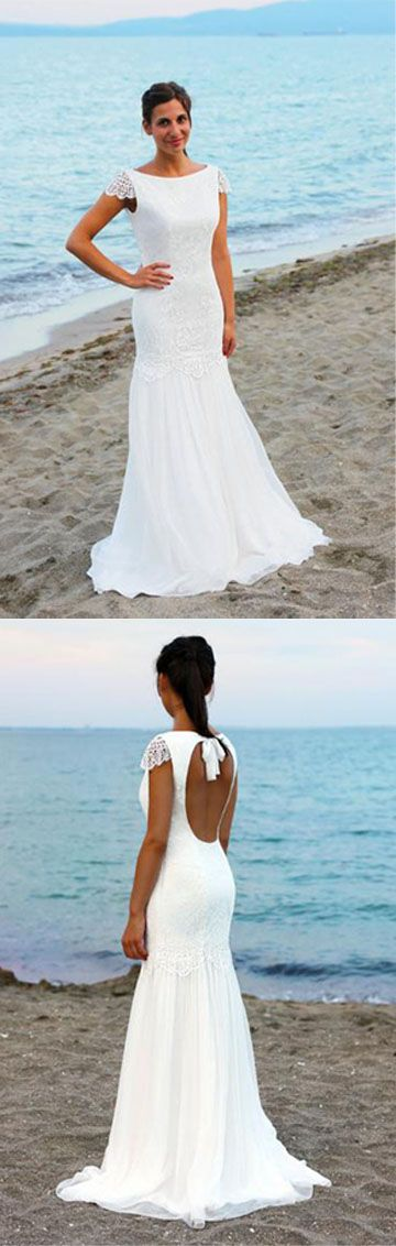 Wedding Dress,Wedding Gowns,Bridal Gown,Bridal Dresses,Cheap Wedding Dresses,Beach Wedding Dress,Wedding Party Dresses,Wedding Dress Shop,Wedding Dress UK,Open Back Cap Sleeves Scoop Lace Beach Wedding Dresses, SW94