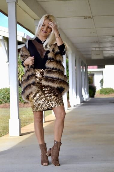 Glam Outfit from fabuloustorture with Steve Madden Jackets, Olympia Theodora Intimates, Gucci Shoulder Bags, TopShop Skirts, Sam Edelman Pumps