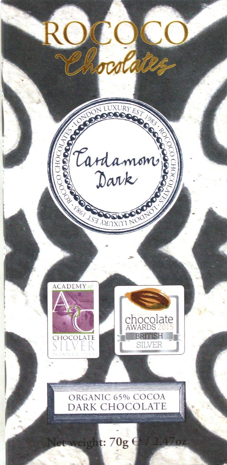 En krämig mörk ekologisk choklad med fyllig kardemummasmak från legendariska chokladproducenten Rococo. Chokladen vann guld på International Chocolate Awards 2015.   #Rococo #ekologisk #choklad #kardemumma #kryddor #nyhet  #Beriksson