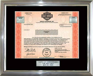 Buy Harley-Davidson Stock    True ownership of one share of Harley-Davidson stock framed any way you want. It takes just two minutes and a credit card. The recipient becomes a real owner of Harley-Davidson entitled to all shareholder perks.