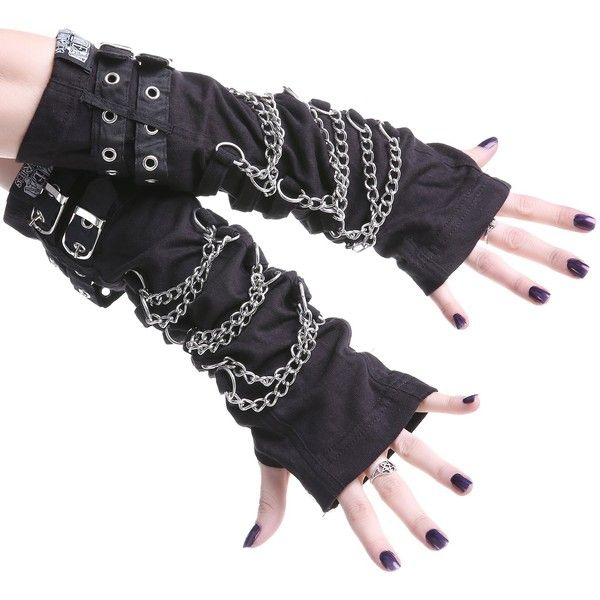Gloves with Chains ($9.55) ❤ liked on Polyvore featuring accessories, gloves, chain gloves, gothic gloves, punk gloves, steampunk gloves and goth gloves