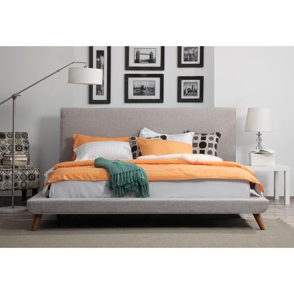 Nixon Mid-century Beige Linen Bed | Overstock.com Shopping - The Best Deals on Beds