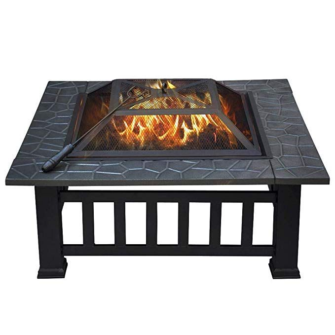 Yaheetech 32 Outdoor Metal Firepit Square Table Backyard Patio Garden Stove Wood Burning Fire Pit With Spark Screen Log Portable Fire Pits Square Fire Pit Metal Fire Pit