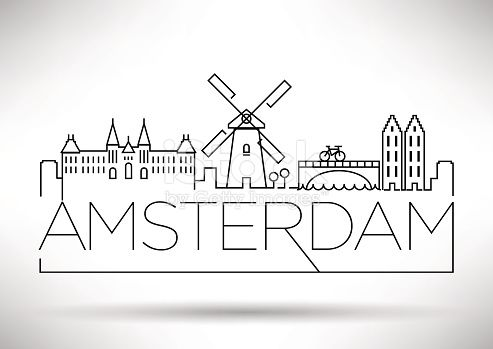 Amsterdam City Line Silhouette Typographic Design – Kerstin Labs