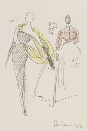 Sketch of models in haute couture fashions with pencil annotations, by Francis Marshall