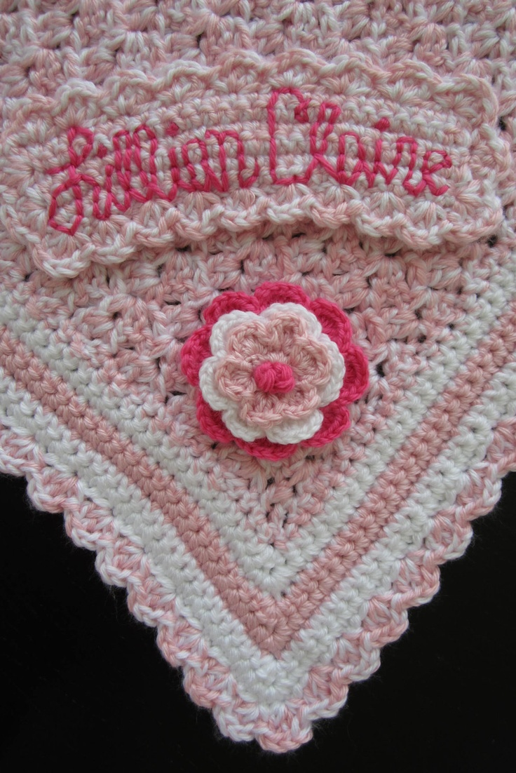 Soft Pink And White Crochet Baby Blanket With Custom Baby Name Label And  Flower