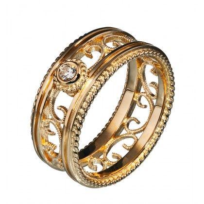 Kalevala Koru / Kalevala Jewelry / Filigraani-sormus 0,06 ct / 14K keltakulta tai valkokulta