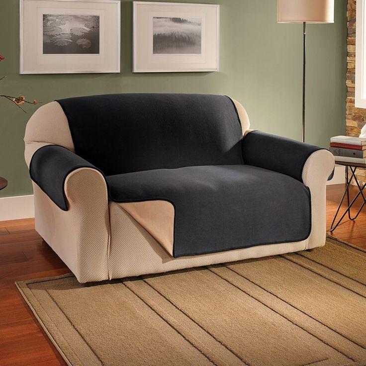 Innovative Textile Solutions Waterproof Reversible Fleece Sofa Protector, Black