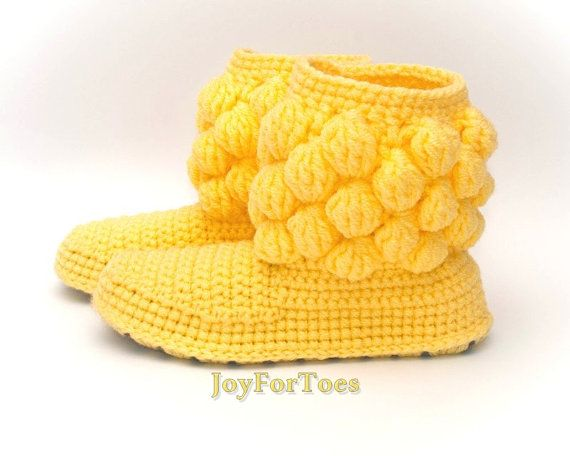 Crochet Boots for the Home Handmade Shoes for the by JoyForToes