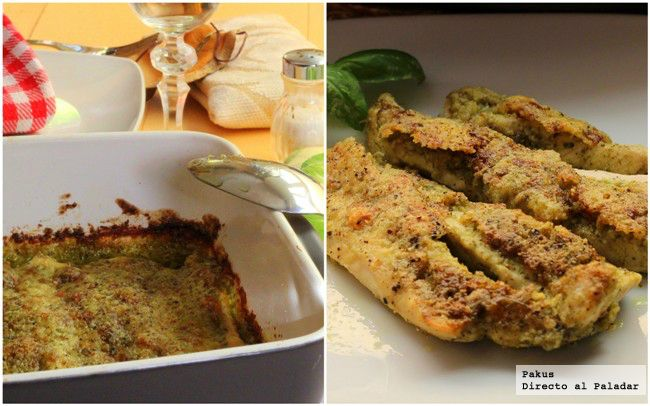 Tiras de pollo con pesto gratinadas / Grilled Chicken strips with pesto