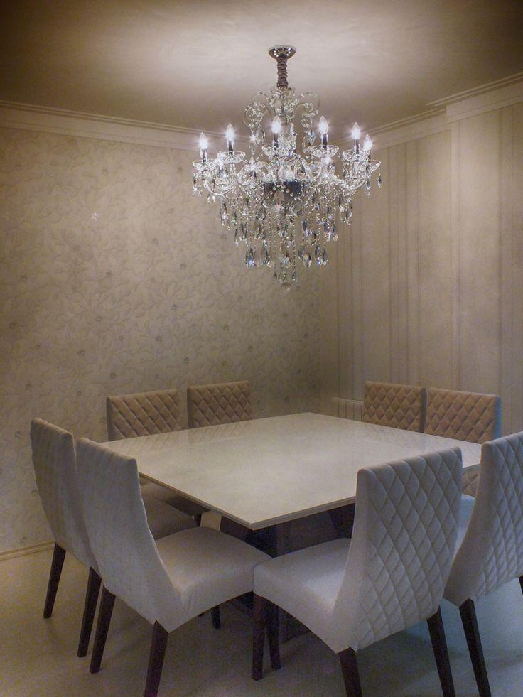#diningroom #saladejantar #chandelier Sala de jantar com lustre de cristal Mundo das Luminárias