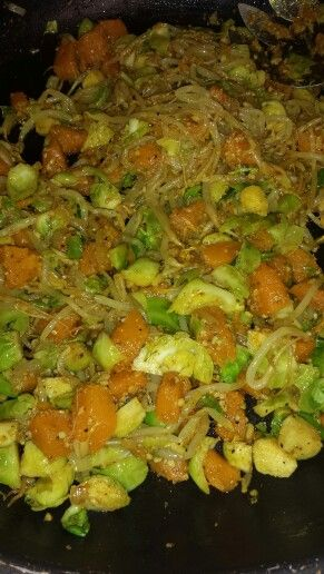 Curried Brussel Sprouts with butternut squash & bean sprouts