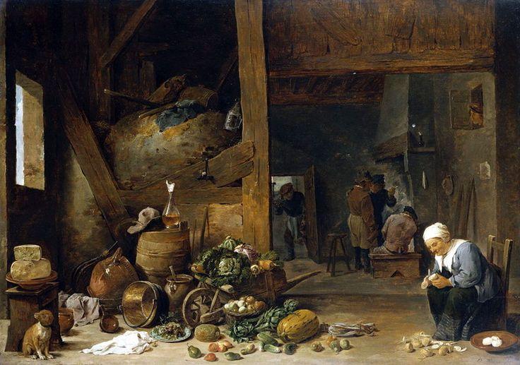 David Teniers the Younger (Antwerp 1610-Brussels 1690) The Interior of a Kitchen with an Old Woman Peeling Turnips c. 1640-44 The Queen's Gallery (Галерея королевы), Букингемский дворец, Великобритания .