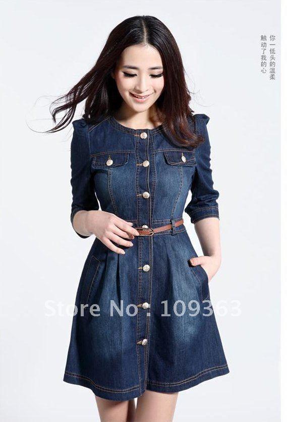 Brand Newest Vintage Fashion Women's Denim Dress,Popular Lace Neck Ladies' jeans casual Dresses plus sizes,Free shipping QQ1341 $29.60