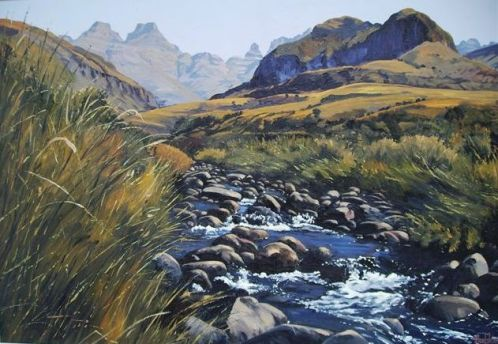 Oil Painting - View at the Cathedral Peak by Ted Hoefsloot