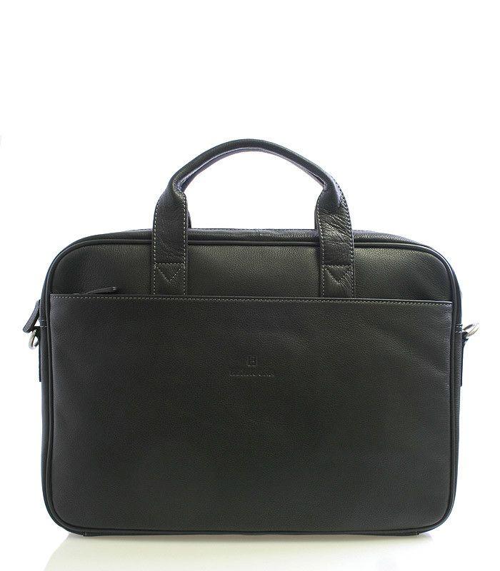 """#aktovka Černá luxusní kožená taška Hexagona. Elegantní unisex taška na notebook a papíry. Taška je příjemně úzká, velice dobře se nosí jak v ruce tak i přes rameno. Součástí je odnímatelný nastavitelný popruh s koženým polstrováním. Uvnitř jsou přihrádky na mobil, tužky, vizitky. V hlavní kapse je jedna přihrádka na notebook o max. rozměrech 35 x 25 cm (13"""")."""