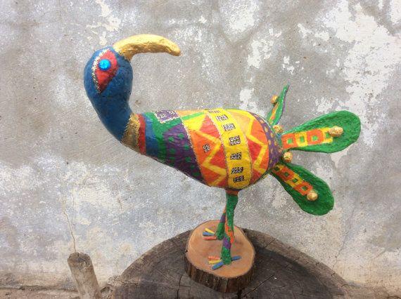Bird sculpture, Gourd bird, Whimsical birds, Folk art, Gourds, Paper machete, Papier mâché, Mix media, Gourds, Geometric design, Bird