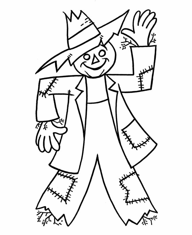 Fall Harvest Coloring Pages | ... Coloring Page Sheets - Simple scarecrow easy to color | BlueBonkers
