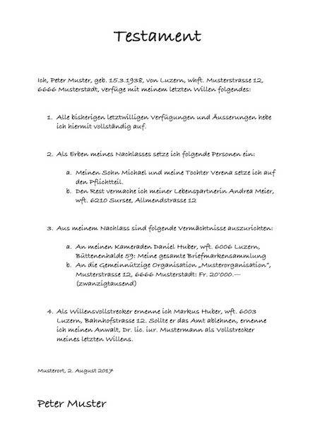 Testament Muster Vorlage Patientenverfügung Vorlagen