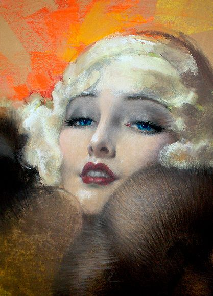 Carole Lombard in Mink Stole ~ ART by Rolf Armstrong, 1934...