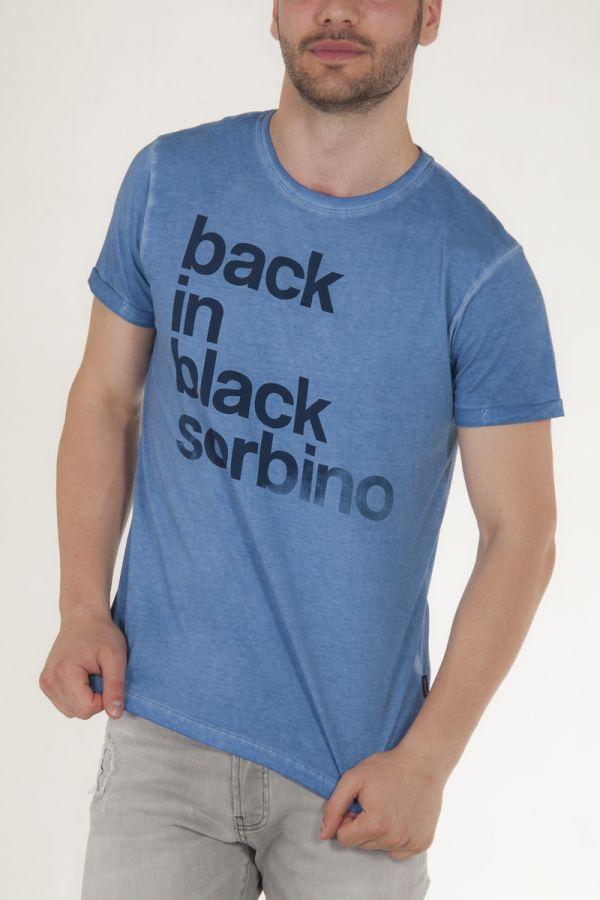 Μπλουζάκι κοντομάνικο σε μπλε του ουρανού με γράμματα μπροστά αντρικό sorbino
