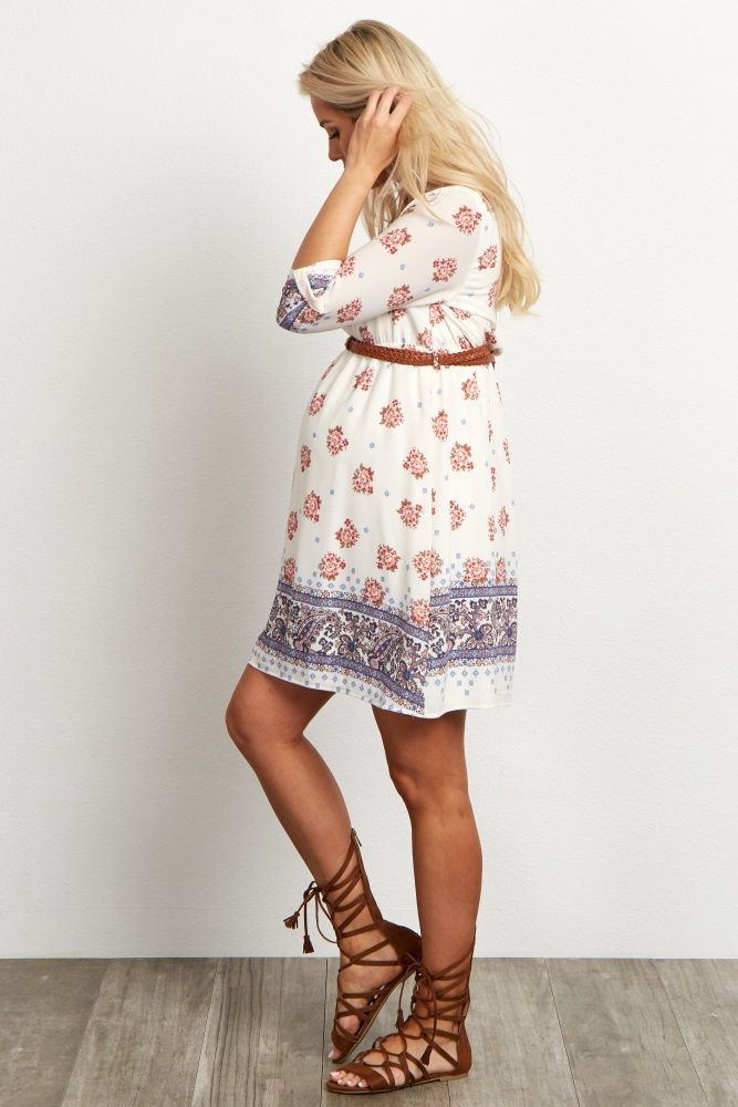 Cream-Floral-Printed-Belted-3/4-Sleeve-Maternity-Dress