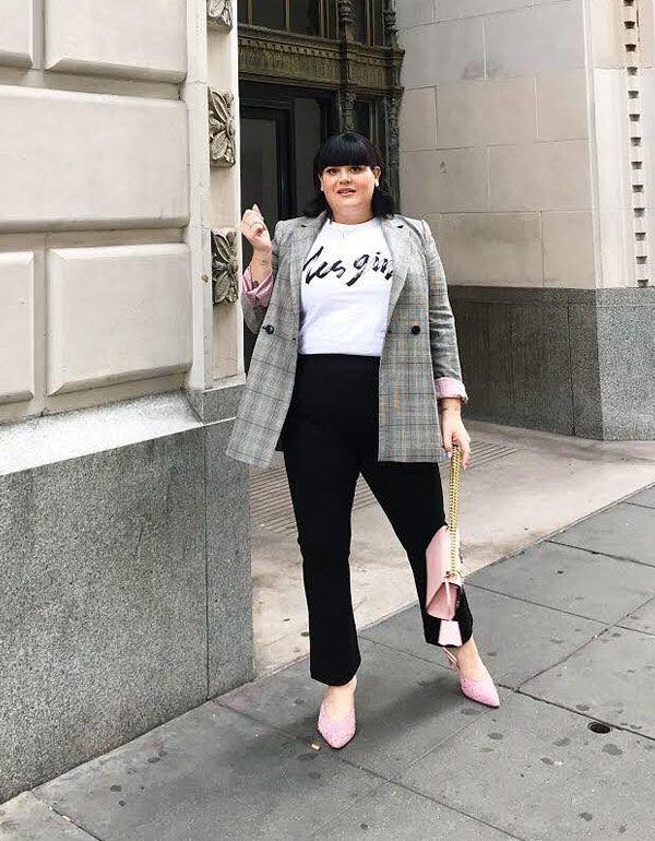 Nicolette Mason - t-shirt-blazer-slingback - blazer - meia estação - street style 2019 | Roupas com curvas, Moda em tamanhos grandes, Roupas casuais para mulheres
