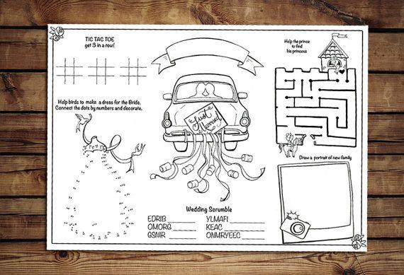 Printable Kids Wedding Activity Page PDF. by KalinaPaperShop