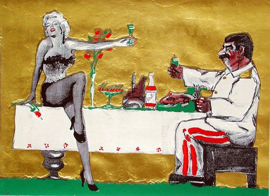 'marilyn and joseph at the table' by leonid sokov, 1992. '