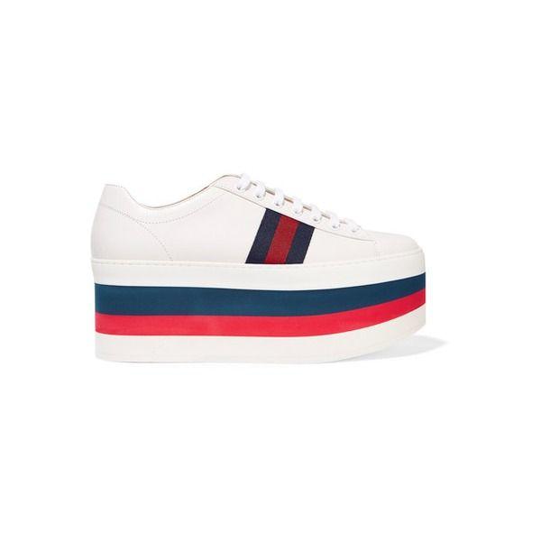 Gucci - Plateau-sneakers Aus Leder - Weiß