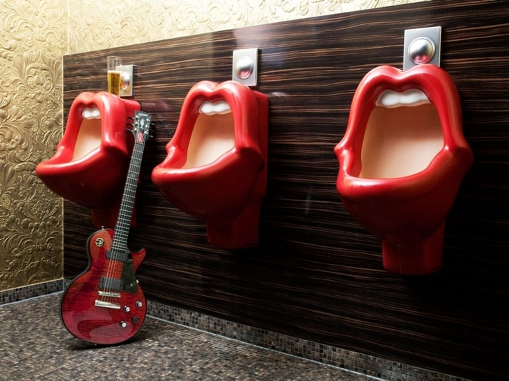 if i just HAD to put a urinal in my home... i would totally make it fun, like these!