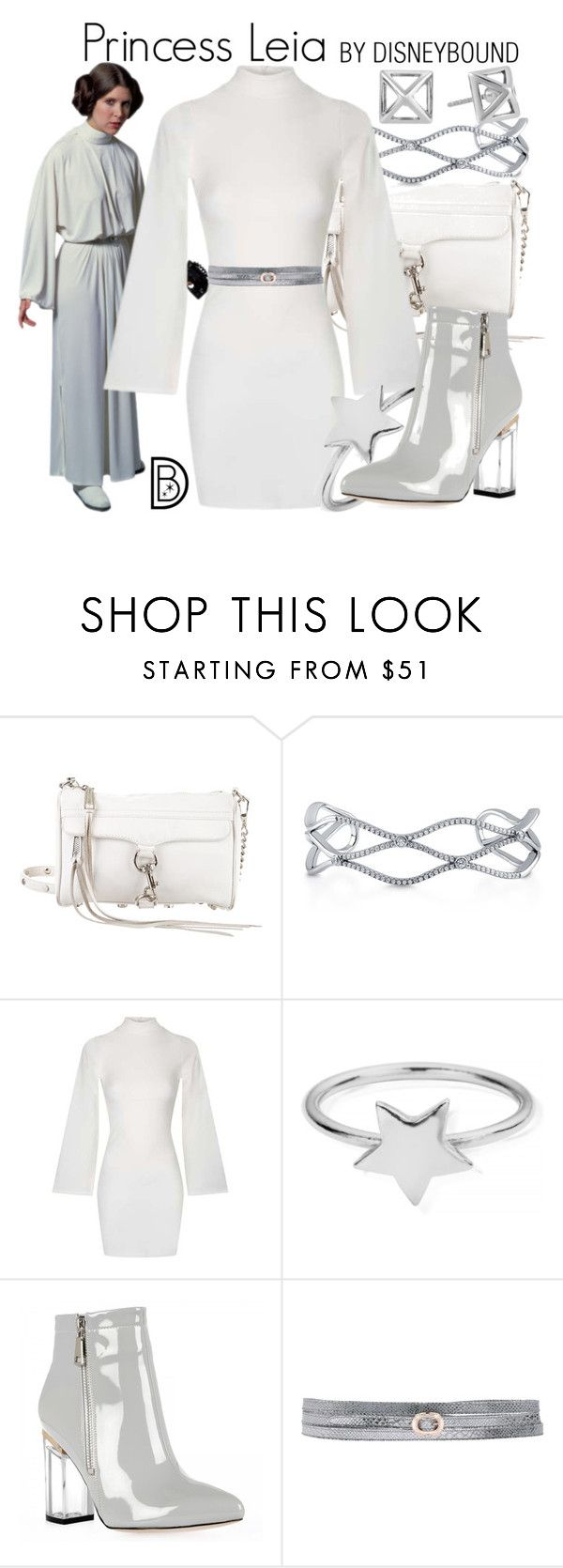 """Princess Leia"" by leslieakay ❤ liked on Polyvore featuring Rebecca Minkoff, BERRICLE, Topshop, ChloBo, Good On Heels, disney, disneybound and starwars"