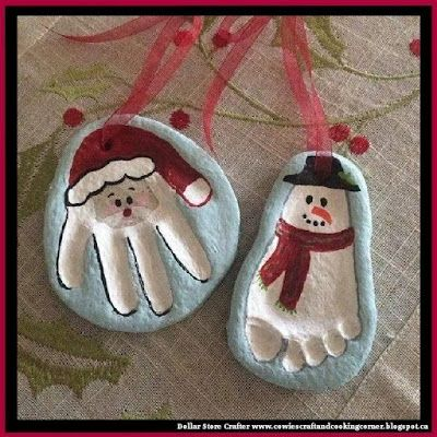Santa Hand Print And Snowman Foot Print Salt Dough Ornaments by Dollar Store Crafter