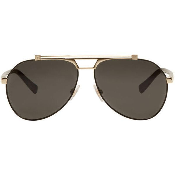 648e70aaa6e1 Dolce and Gabbana Black and Gold Aviator Sunglasses ( 335) ❤ liked on  Polyvore featuring