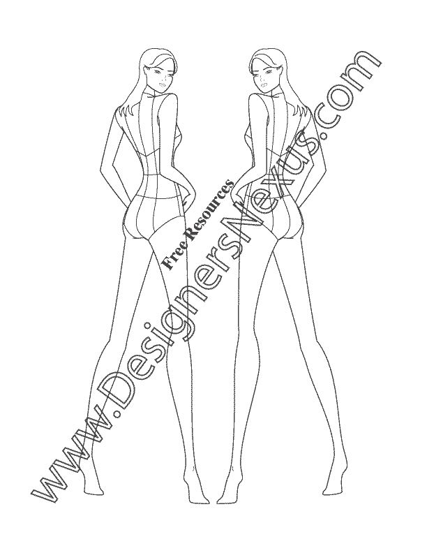 14 best free male fashion croquis templates images on pinterest this free fashion figure template shows a female model croqui standing in a back view pose pronofoot35fo Choice Image