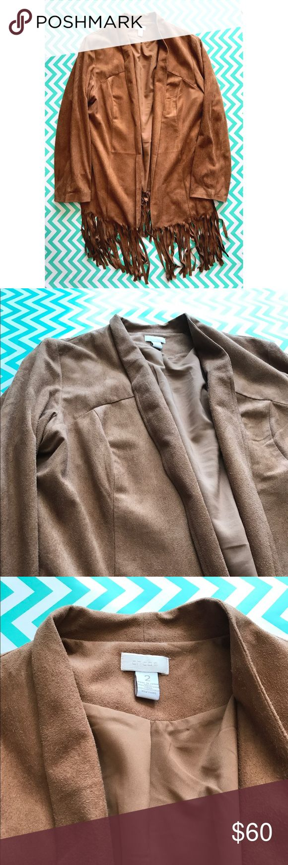 Fringe suede jacket Beautiful Chicos fringe suede jacket. Chicos size 2 which is about a 12 US size. Used like new, only worn three times in new condition. Chico's Jackets & Coats