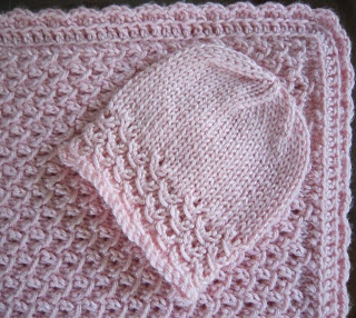 Sea Trail Grandmas: Free Knit Pattern Preemie Hat and Blanket Waves With Crochet Border ( with 4 PLY yarn)
