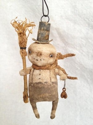 Spun Cotton Batting Snowman Feather Tree Ornament Primitive Vintage Type OOAK | eBay